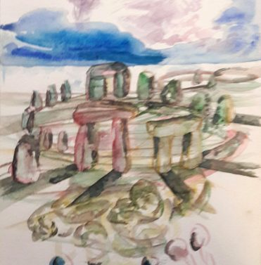 Stonehenge, 2016, 32 x 24 cm, Aquarell auf Papier/ watercolour on paper