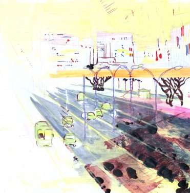 Helles Licht Straße, 30 x 40 cm, auf Papier/ on paper, Privatbesitz/ privately owned
