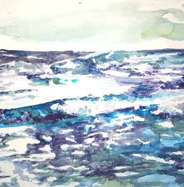 Meerstudie/ sea study, 2014, 19,5 x 40 cm, Aquarell auf Papier/ watercolour on paper