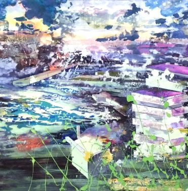 Monaco mit Zarautz Himmel/ Monaco with Zarautz Sky, 2015, 60 x 130 cm, Privatbesitz/ privately owned