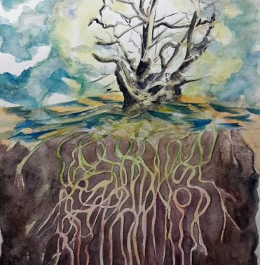 Wurzelkunde IV/ Root knowledge IV, 32 x 24 cm, 2016, Aquarell auf Papier/ watercolour on paper