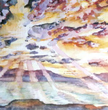 Zarautz Himmel II/ Zarautz Sky II, 2015, 10,5 x 14,8 cm, Aquarell auf Papier/ watercolour on paper   Zarautz Himmel III/ Zarautz Sky III, 2015, 10,5 x 14,8 cm, Aquarell auf Papier/ watercolour on paper
